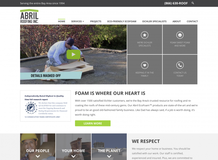 Abril Roofing Homepage