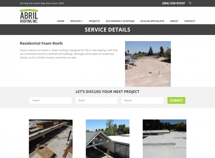 Abril Roofing Service page