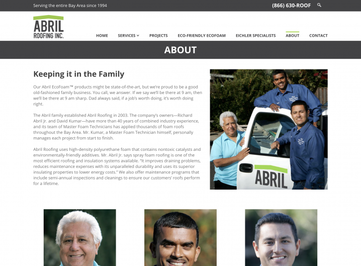 Abril Roofing About page