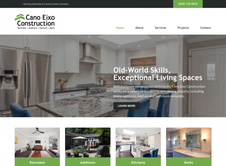 Cano Eixo Construction homepage