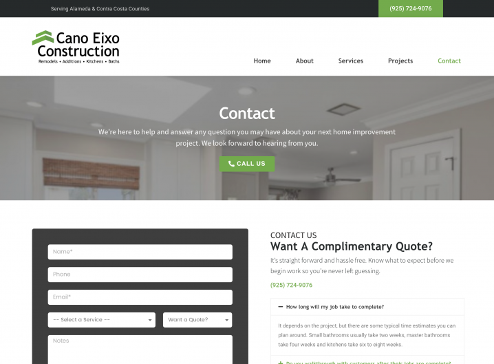 Cano Eixo Construction Contact