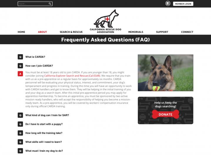 CARDA FAQ page
