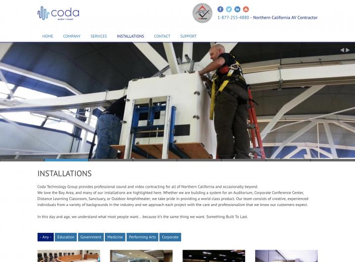 Coda Technology Installations page