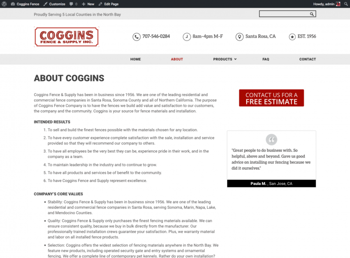 Coggins Fence about page