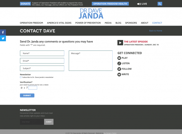 Dr. Dave Janda Contact page