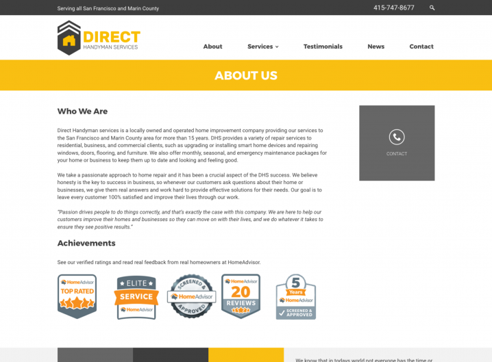 Direct Handyman Services About page