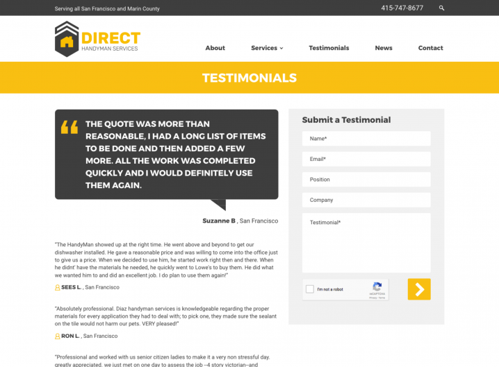 Direct Handyman Services Testimonial page