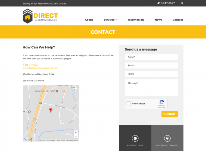 Direct Handyman Services Contact page