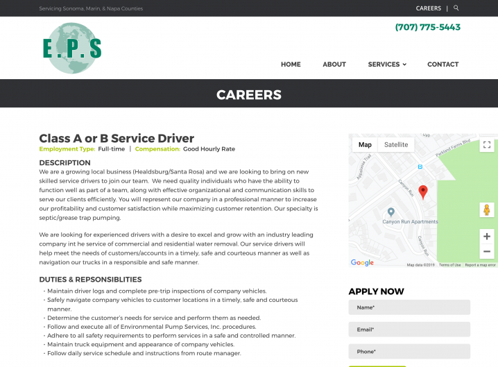 Environmental Pump Services career detail page