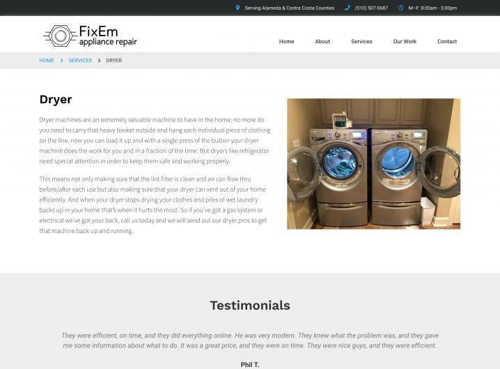 FixEm Appliance Repair service detail page