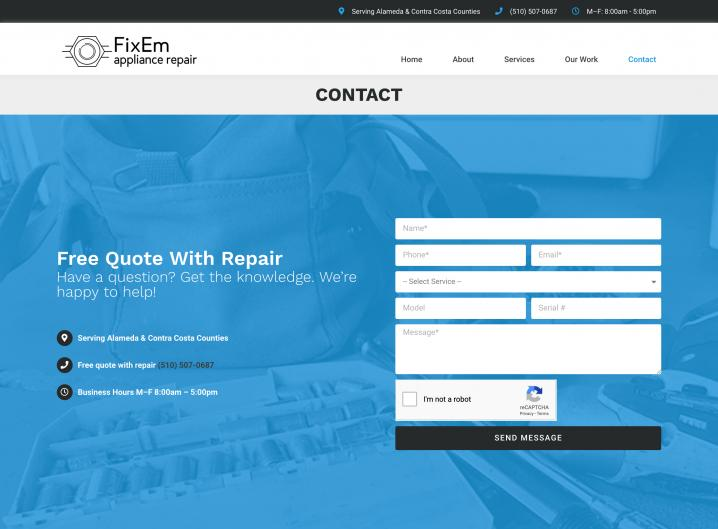 FixEm Appliance Repair contact page