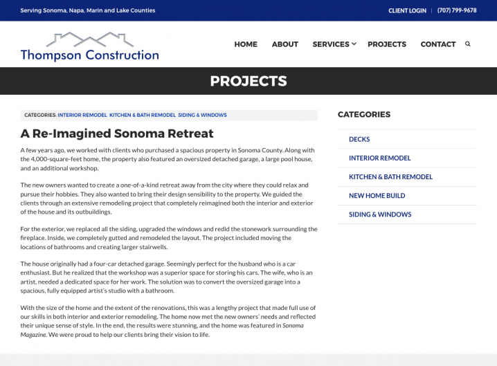 Thompson Construction project detail page