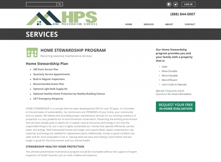 Home Preservation Services service detail page
