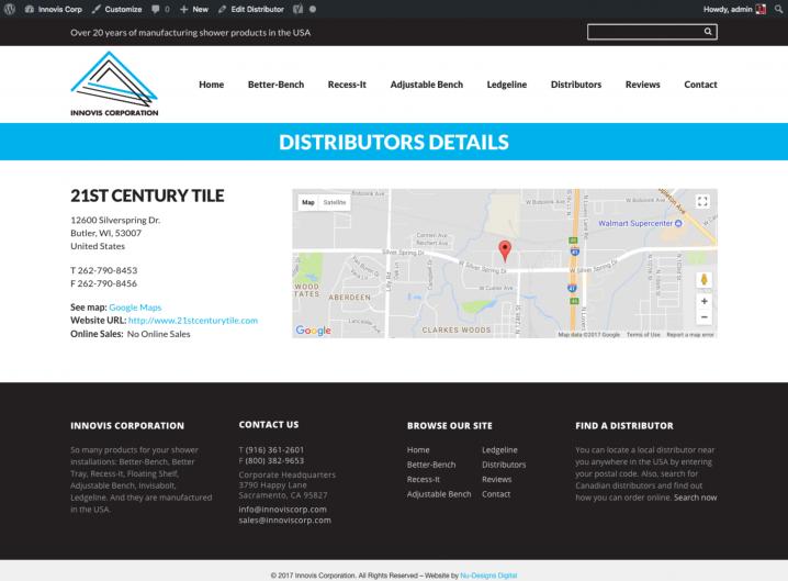 Innovis Corp Distributor detail page