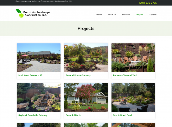 Manzanita Landscape Construction Project overview