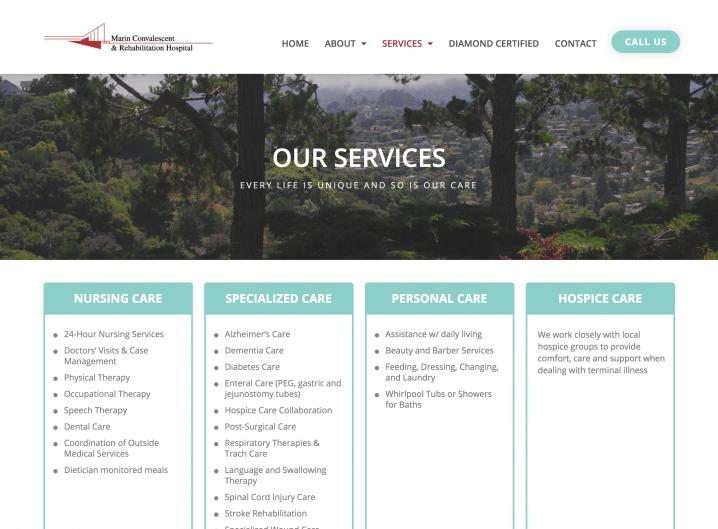 Marin Convalescent & Rehabilitation Hospital service page