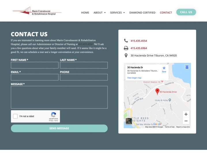 Marin Convalescent & Rehabilitation Hospital contact page