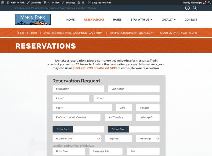 Marin Park Reservation form