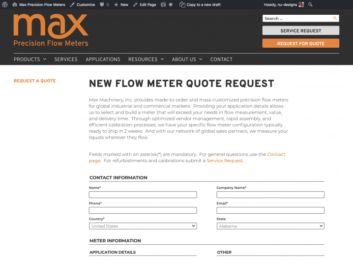 Max Machinery Request for Quote form
