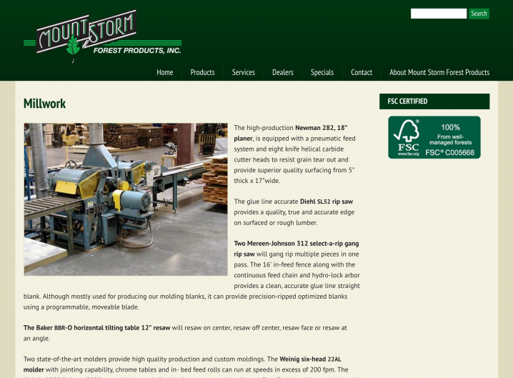 Millwork Service page