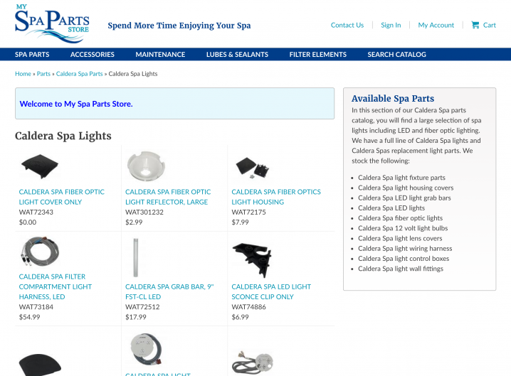My Spa Parts Store Store Category page