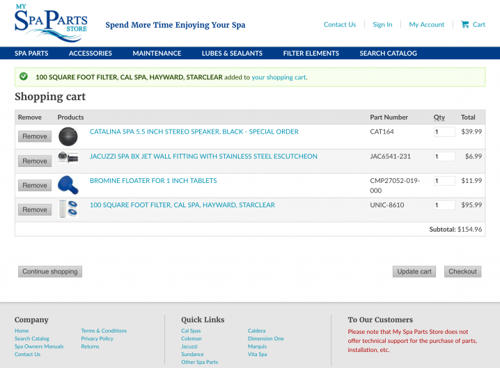My Spa Parts Store Shopping Cart page