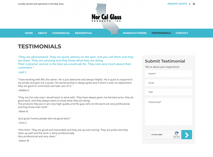 Nor Cal Glass Products testimonials