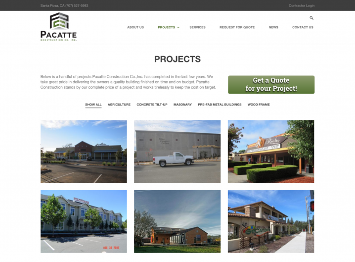 Pacatte Construction Project page