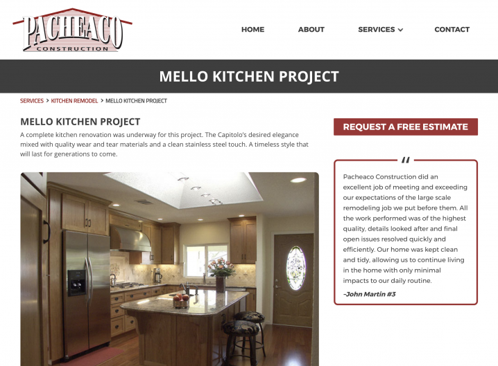 Pacheaco Construction Kitchen Projects detail