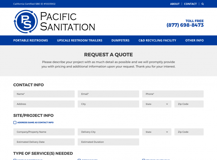 Pacific Sanitation Request for Quote form