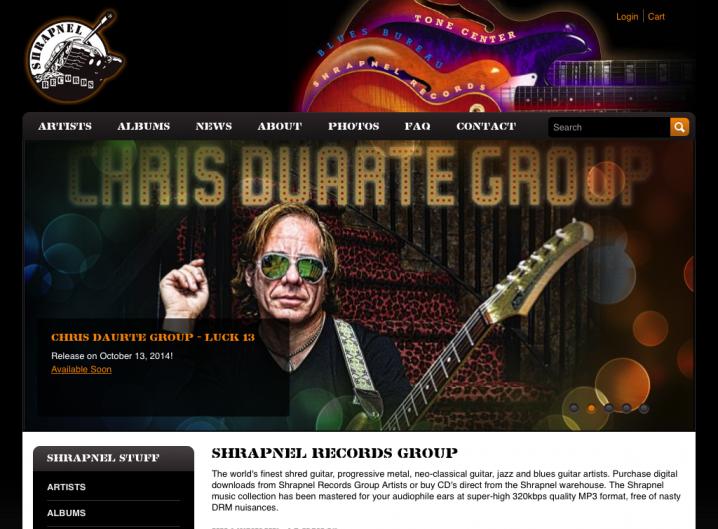Shrapnel Records home page