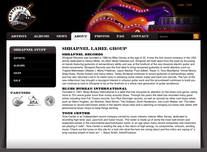 Shrapnel Records about page