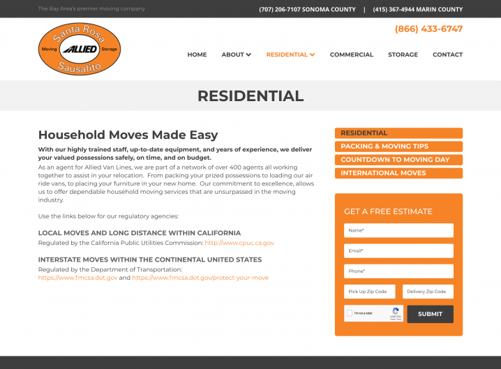 Santa Rosa Moving Residential Moving page