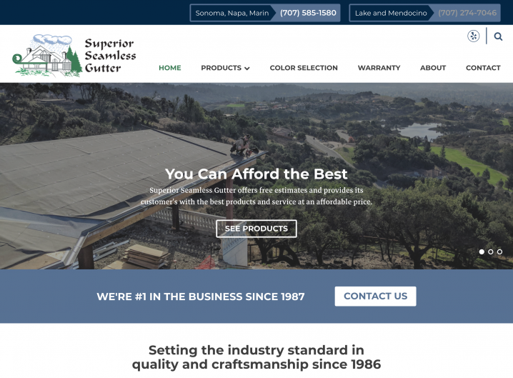 Superior Seamless website: Homepage