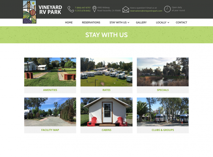 Vineyard RV Park Stay With Us page