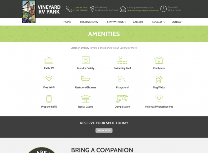 Vineyard RV Park Amenities page
