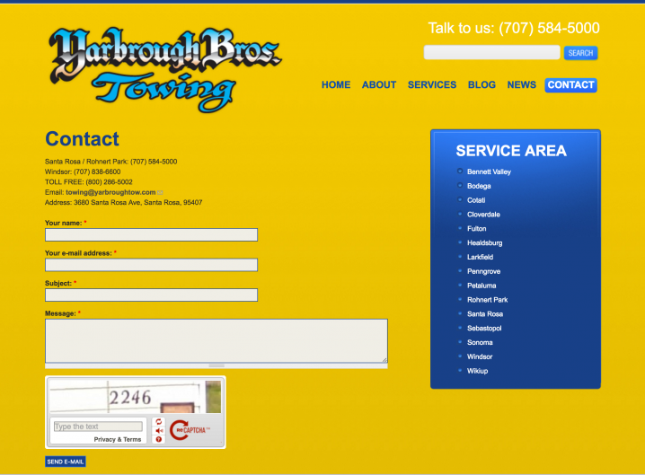 Yarbrough Tow contact page